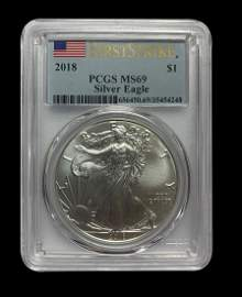 Certified Uncirculated Silver Eagle 2018 MS69 PCGS Firs