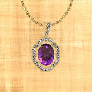 Certified 2.20 Ctw Amethyst And Diamond I2/I3 10K Gold