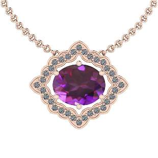 Certified 5.69 Ctw Amethyst And Diamond I2/I3 10K Gold