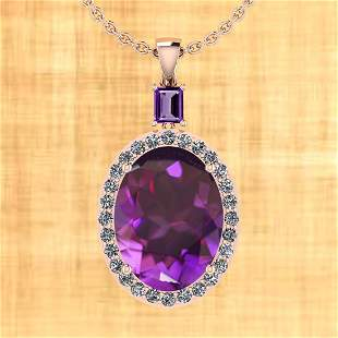 Certified 15.18 Ctw Amethyst And Diamond I2/I3 10K Gold