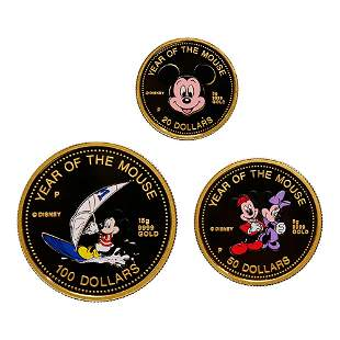 Cook Island 1996 Year of the Mouse Disney Gold Coin Set
