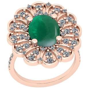 Certified 7.73 Ctw SI2/I1 Emerald And Diamond 14K Yello