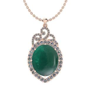 Certified 15.22 Ctw I2/I3 Emerald And Diamond 14K Rose