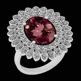 Certified 6.97 Ctw SI2/I1 Pink Tourmaline And Diamond 1