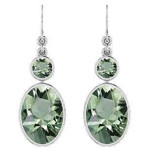 Certified 3.00 Ctw Green Amethyst 14K White Gold Wire H