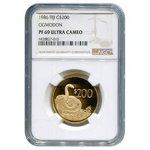 Fiji $200 Gold 1986 Ogmodon PF69 NGC