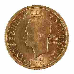 Bolivia 20 Bolivianos Gold 1952 UNC Revolution Commemor