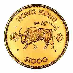 Hong Kong $1000 Gold 1985 Year of the Ox BU