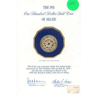 Belize $100 Gold Proof 1976 Mayan Symbols
