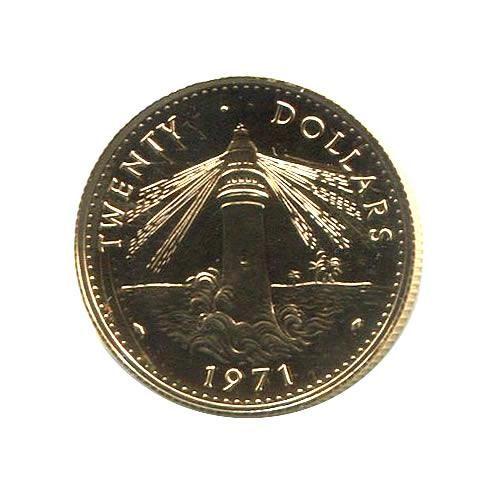 Bahamas $20 Gold 1967-1971 BU Lighthouse
