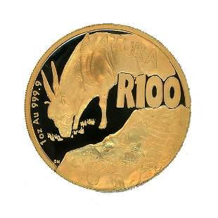 South Africa 100 Rand Gold PF 2007 Natura Series Eland
