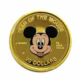 Cook Islands $20 Gold PF 1996 Mickey Mouse