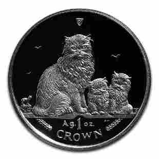 Isle of Man 2005 1 Crown Silver Proof Himalayan Cat