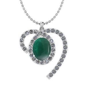 Certified 5.76 Ctw I2/I3 Emerald And Diamond 14K White