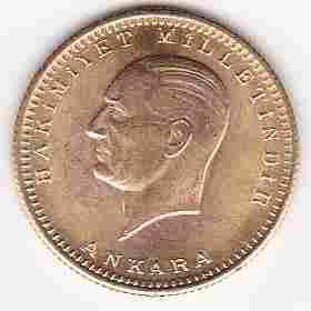 Turkey 100 kurush gold bullion issue UNC