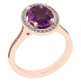 Certified 1.55 Ctw Amethyst And Diamond I2/I3 10K Gold