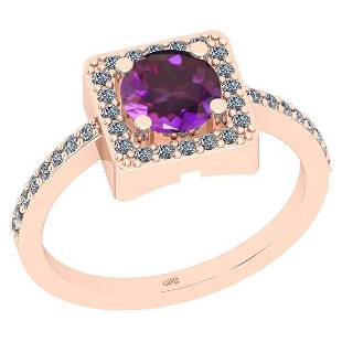 Certified 1.28 Ctw I2/I3 Amethyst And Diamond 10k Rose