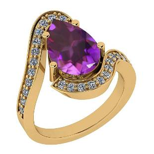 Certified 3.66 Ctw Amethyst And Diamond I2/I3 10K Gold