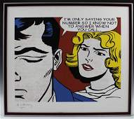 Roy Lichtenstein Pencil Signed/Numbered Lithograph