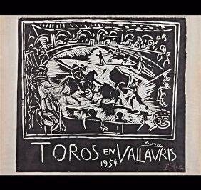 Pablo Picasso Signed Linocut, Toros En Vallauris