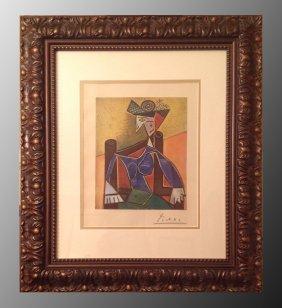 Pablo Picasso, Femme Au Chapeau Signed Lithograph