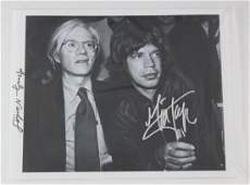 Andy Warhol  Mick Jagger Signed Photograph