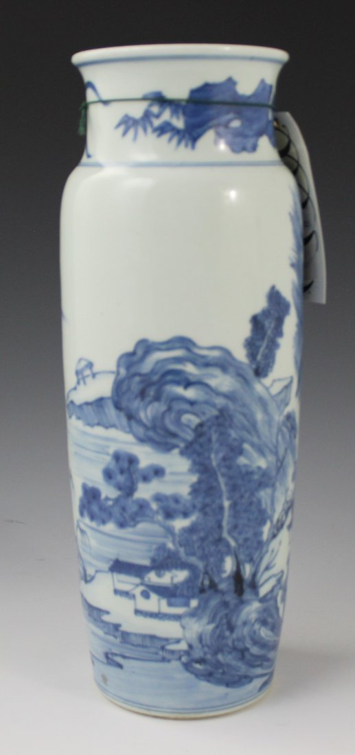Blue Chinese Glazed Porcelain Sleeve Vase - 3