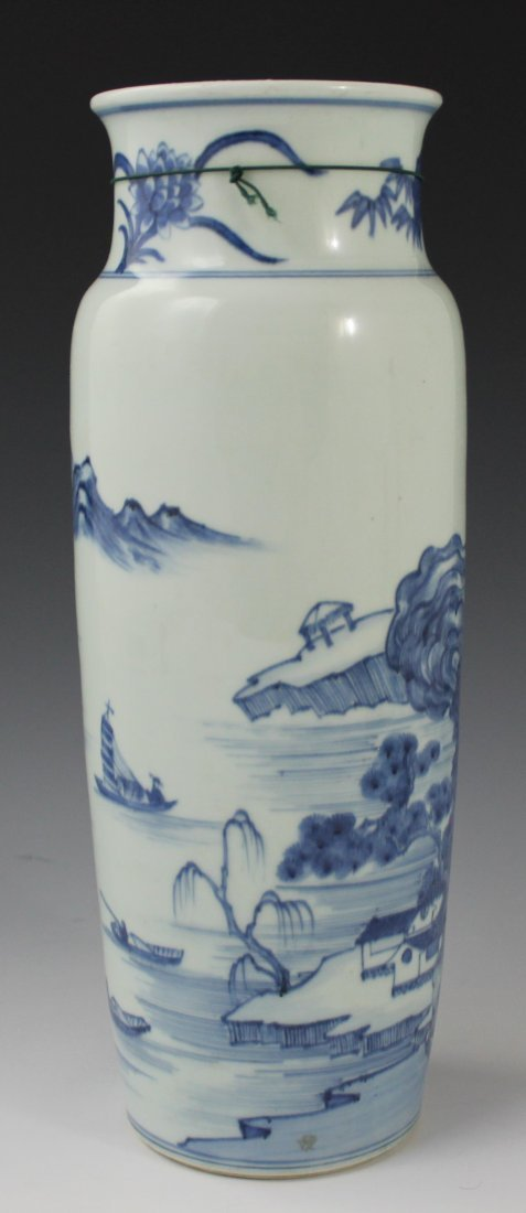 Blue Chinese Glazed Porcelain Sleeve Vase - 4