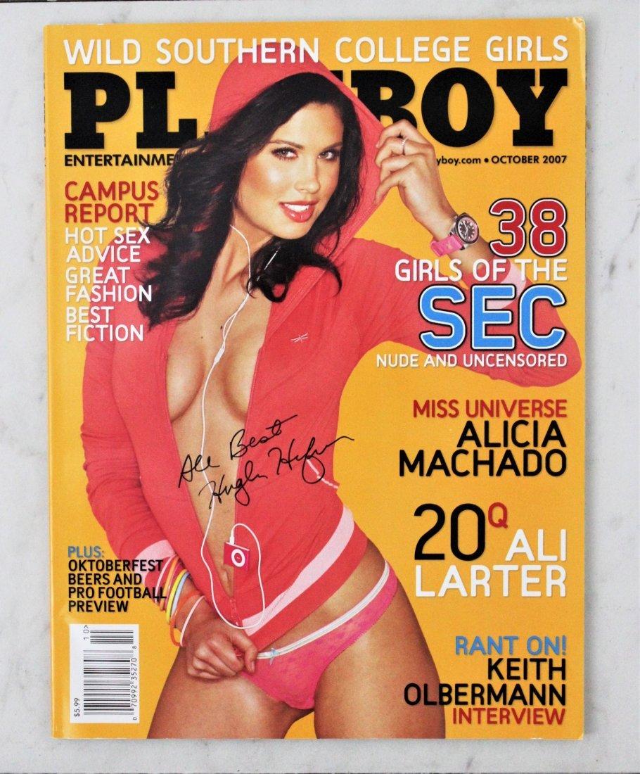 Hugh Hefner Signed Playboy Magazine