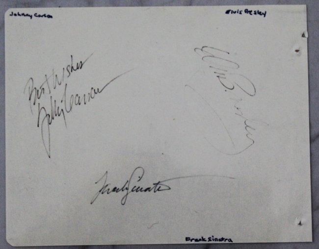Elvis Presley, Frank Sinatra, Johnny Carson Signed