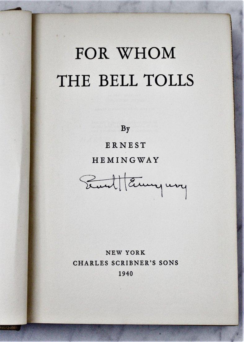 Ernest Hemingway Signed Book