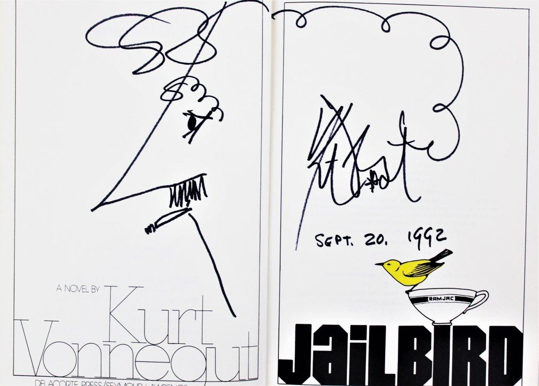 Kurt Vonnegut Signed Book & Drawing
