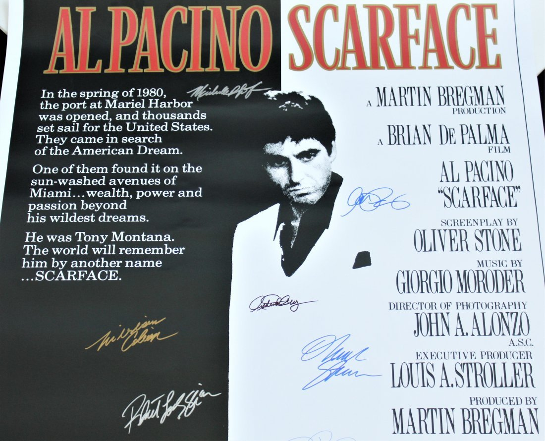 Scarface Cast Signed Movie Poster - 3