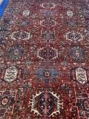 Semi Antique Hand Woven Persian Heriz 11.2x6.4 ft