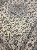 Fine Hand Woven Persian Silk & Wool Nain 13.2x9.7 ft