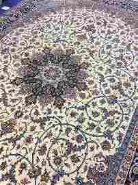 Very Fine Hand Woven Silk&Wool Esfahan 9x12