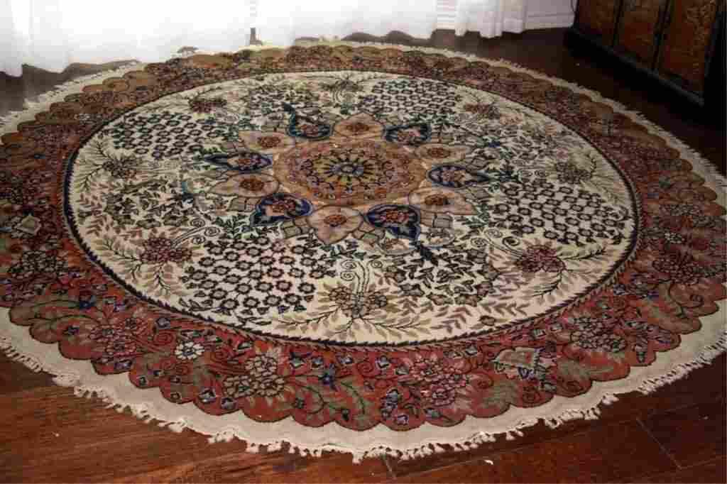 Semi Antique Hand Woven Persian IndoTabriz 8.6x8.6 ft