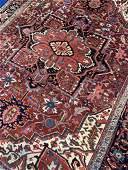 Semi Antique Hand Woven Persian Heriz 10.5x7.5 ft