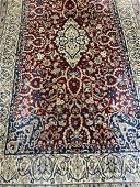 Semi Antique Hand Woven Persian Silk & Wool Nain