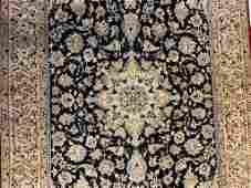 Semi Antique Hand Woven Wool & Silk Nain 3.8x6.8 ft
