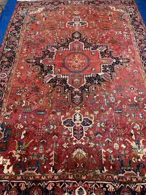 Semi Antique Hand Woven Persian Heriz 11.6x7.8 ft