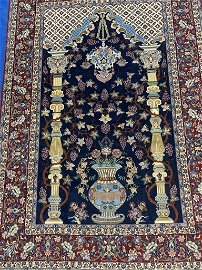 Very Fine Hand Woven Silk & Wool Esfahan  7.5x5 ft