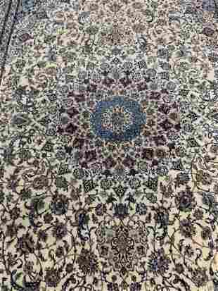 Semi Antique Hand Woven Persian Silk & Wool 6 La Nain