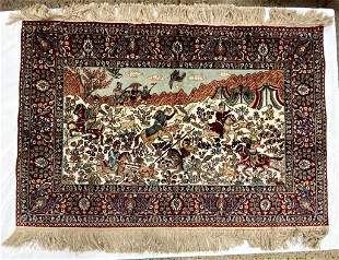 Semi Antique Hand Woven Persian Tabriz 2x3 ft