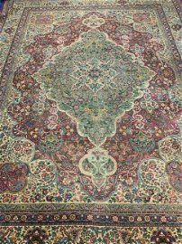 Antique Hand Knotted Persian Kermen Rug 11.9x8.9 ft