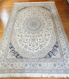 Hand Knotted Persian Silk&Wool Nain 12x8.5 ft