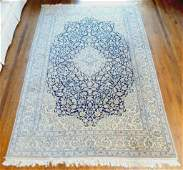 Hand Knotted Persian Silk&Wool Nain 6.7x9.8 ft