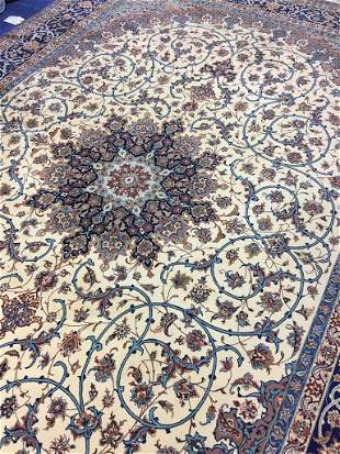 Very Fine Hand Knotted Persian Silk&Wool Esfahan 9x12