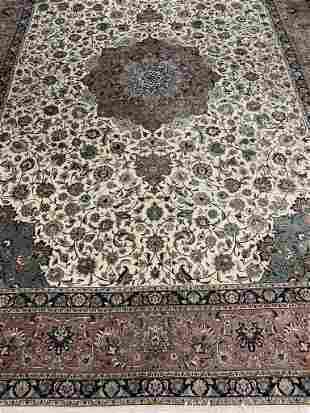 Very Fine Hand Knotted Persian Silk&Wool Tabriz 9x12