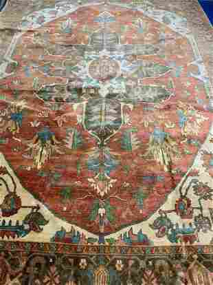 Hand Knotted Persian Heriz 14.5x10.5 ft .Free Shipping